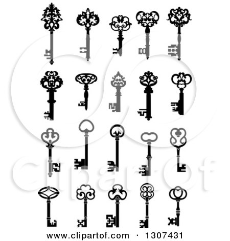 Clipart of a Black and White Antique Skeleton Keys 7 - Royalty Free Vector Illustration by Vector Tradition SM