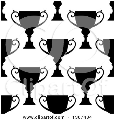 Clipart of a Seamless Background Pattern of Black and White Silhouetted Urns or Trophies 2 - Royalty Free Vector Illustration by Vector Tradition SM