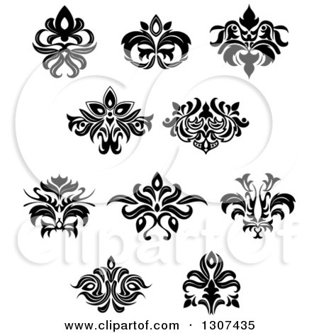 Clipart of a Black and White Vintage Floral Design Elements 10 - Royalty Free Vector Illustration by Vector Tradition SM