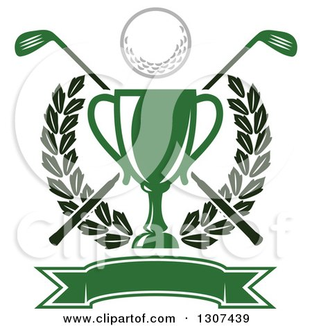 Clipart Of A Green Championship Trophy With A Golf Ball Crossed Clubs Leafy Wreath And Blank Banner Royalty Free Vector Illustration