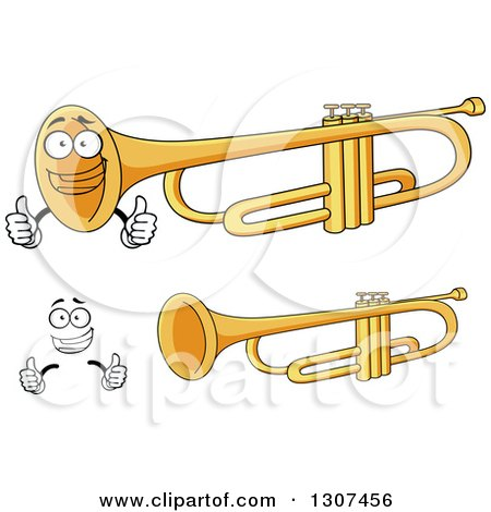 Clipart of a Cartoon Face, Hands and Trumpets - Royalty Free Vector Illustration by Vector Tradition SM