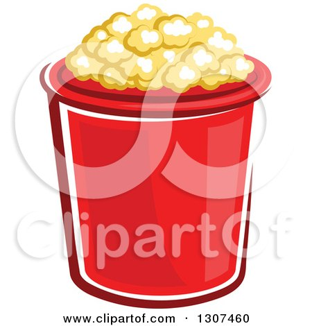 Clipart of a Cartoon Red Popcorn Bucket - Royalty Free Vector Illustration by Vector Tradition SM