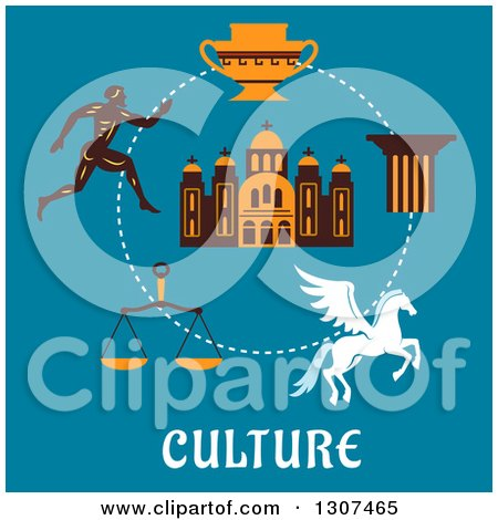 Clipart of a Flat Design of Greek Cultural Items over Text on Blue - Greek Runner, Capital on a Column, Pegasus, Amphora, Scales and Temple - Royalty Free Vector Illustration by Vector Tradition SM