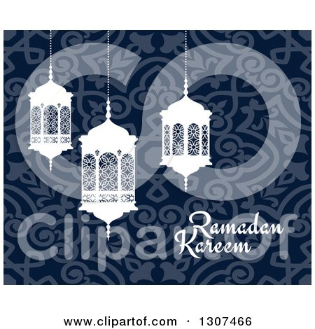 Clipart of a Ramadan Kareem Greeting with White Lanterns over a Blue Pattern 2 - Royalty Free Vector Illustration by Vector Tradition SM