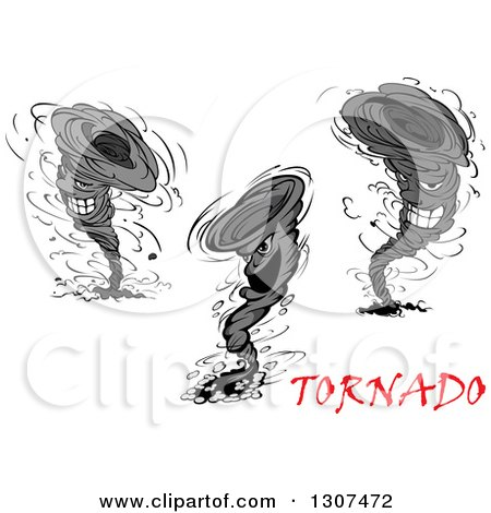 Clipart of Cartoon Aggressive Tornado Characters with Red Text - Royalty Free Vector Illustration by Vector Tradition SM