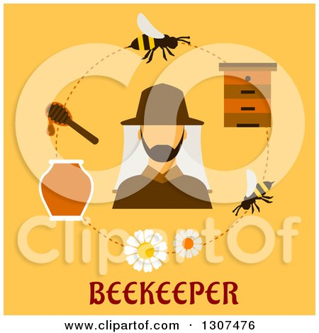 Clipart of a Beekeeper, Bees and Hive in a Circle over Text on Yellow - Royalty Free Vector Illustration by Vector Tradition SM