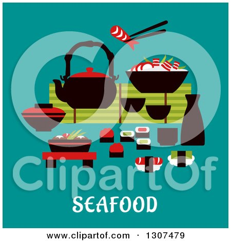 Clipart of Flat Design Japanese Seafood with Sashimi and Sushi Rolls Below a Table Set with a Teapot, Fresh Salad and Bowl of Rice and Prawns with One Held in Chopsticks over Text on Turquoise - Royalty Free Vector Illustration by Vector Tradition SM