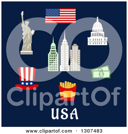 Clipart of Flat Design American Travel Items of the Flag of USA, Statue of Liberty, Capitol Building, Skyscrapers, Hat, Dollars, Fast Food Box with French Fries - Royalty Free Vector Illustration by Vector Tradition SM