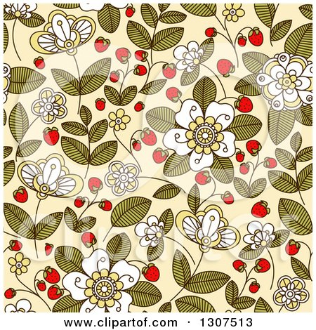 Clipart of a Seamless Background Pattern of Doodled Strawberry Blossoms, Plants and Berries over Beige - Royalty Free Vector Illustration by Vector Tradition SM