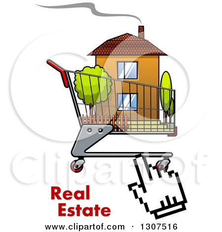 Clipart of a Hand Computer Cursor Clicking on a House in a Shopping Cart over Real Estate Text - Royalty Free Vector Illustration by Vector Tradition SM
