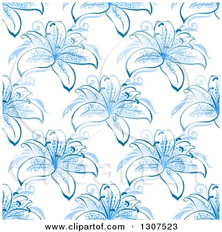Clipart of a Seamless Background Pattern of Blue Lily Flowers - Royalty Free Vector Illustration by Vector Tradition SM