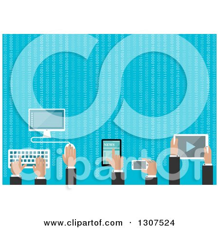 Clipart of Flat Design Business Men Hands Using Gadgets with Binary Coding over Blue - Royalty Free Vector Illustration by Vector Tradition SM