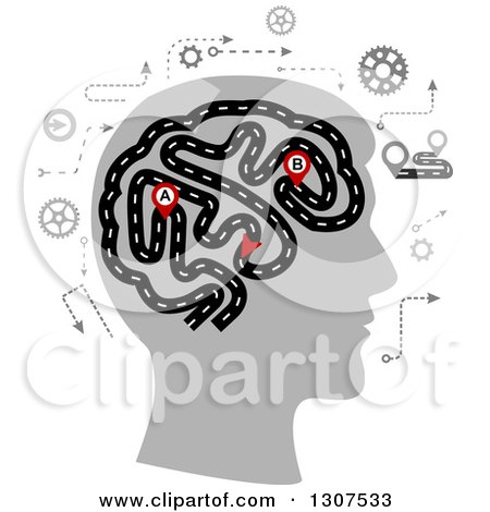 Clipart of a Silhouetted Head Showing the Thought Processes of a Human Brain Depicted As a Highway - Royalty Free Vector Illustration by Vector Tradition SM