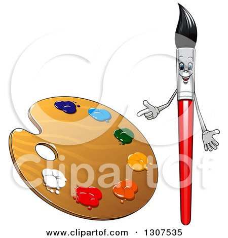 Clipart of a Cartoon Paintbrush Character Pointing to a Palette - Royalty Free Vector Illustration by Vector Tradition SM