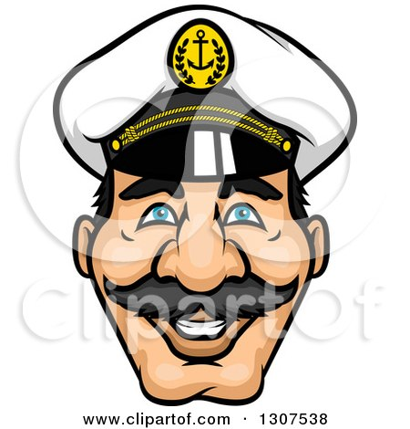 Clipart of a Cartoon Happy Mustached Captain's Face - Royalty Free Vector Illustration by Vector Tradition SM