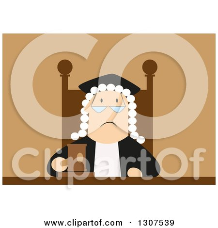 Clipart of a Tired and Unhappy White Male Judge - Royalty Free Vector Illustration by Vector Tradition SM