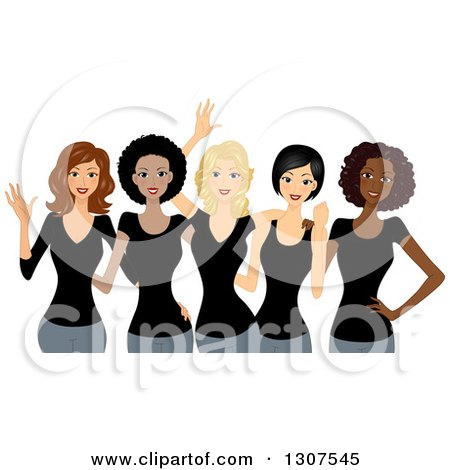 Clipart of a Group of Happy Beautiful Women Wearing Black Shirts and Celebrating International Women's Day - Royalty Free Vector Illustration by BNP Design Studio