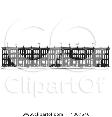 Clipart of Black and White Woodcut Baltimore Ghetto Row House Town Homes - Royalty Free Vector Illustration by xunantunich