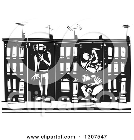 Clipart of a black and white woodcut neighborhood of baltimore preview clipart black and white woodcut people boxed in baltimore ghetto row house town homes sciox Gallery