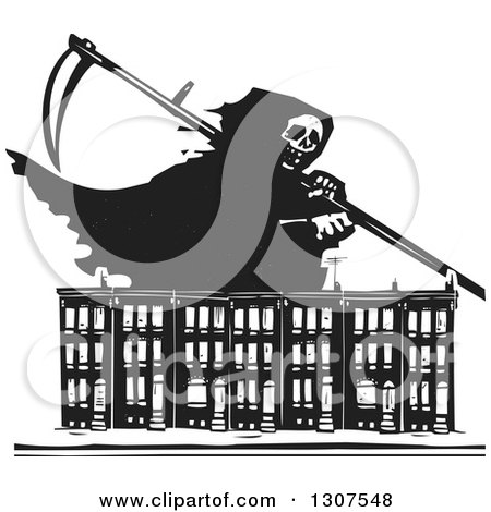Clipart of black and white woodcut baltimore ghetto row house town preview clipart black and white woodcut grim reaper over baltimore ghetto row house town homes sciox Gallery