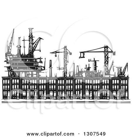 Clipart of Black and White Industrial Equipment over Woodcut Baltimore Ghetto Row House Town Homes - Royalty Free Vector Illustration by xunantunich
