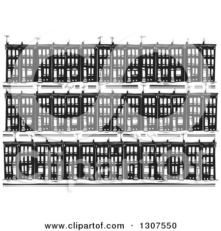 Clipart of a Black and White Woodcut Neighborhood of Baltimore Ghetto Row House Town Homes - Royalty Free Vector Illustration by xunantunich