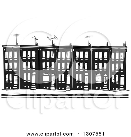 Clipart of Black and White Burning Woodcut Baltimore Ghetto Row ...