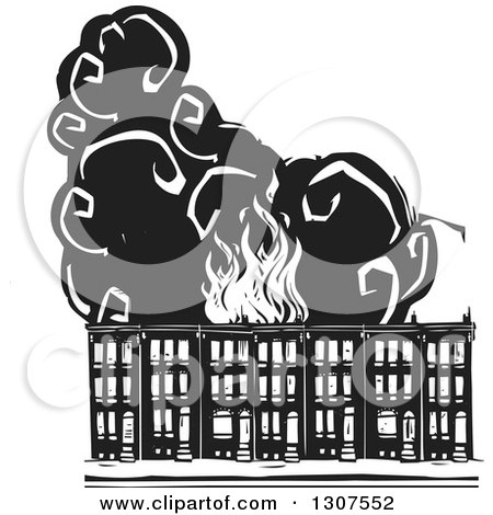 Clipart of black and white woodcut baltimore ghetto row house town preview clipart black and white burning woodcut baltimore ghetto row house town homes sciox Gallery