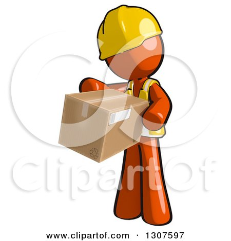 Clipart of a Contractor Orange Man Worker Inspecting a Box - Royalty Free Illustration by Leo Blanchette