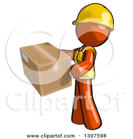 Clipart of a Contractor Orange Man Worker Holding a Box - Royalty Free Illustration by Leo Blanchette