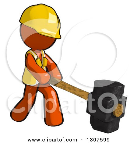 Clipart of a Contractor Orange Man Worker Using a Sledge Hammer - Royalty Free Illustration by Leo Blanchette
