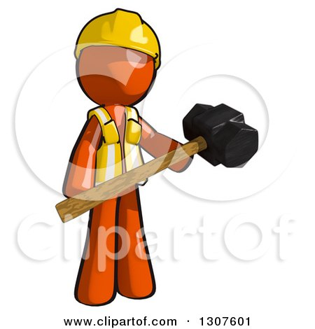 Clipart of a Contractor Orange Man Worker Holding a Sledge Hammer - Royalty Free Illustration by Leo Blanchette