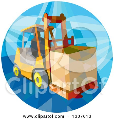 Clipart of a Retro Low Poly Geometric Worker Operating a Forklift and Moving a Crate in a Circle - Royalty Free Vector Illustration by patrimonio