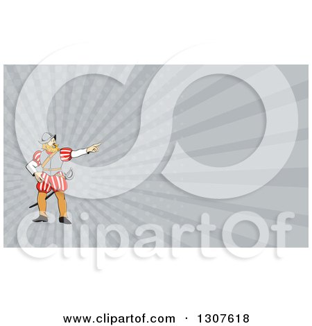 Clipart of a Cartoon Spanish Conquistador Pointing and Gray Rays Background or Business Card Design - Royalty Free Illustration by patrimonio