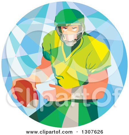 Clipart of a Retro Low Poly American Football Player Passing in a Circle - Royalty Free Vector Illustration by patrimonio