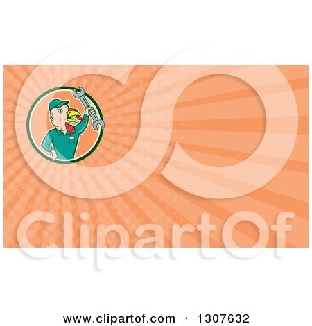 Clipart of a Cartoon Turkey Bird Worker Mechanic Man Holding up a Wrench and Orange Rays Background or Business Card Design - Royalty Free Illustration by patrimonio