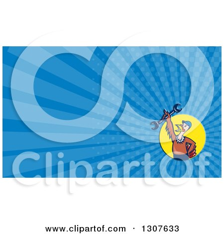 Clipart of a Cartoon Turkey Bird Worker Mechanic Man Holding up a Wrench in a Yellow Circle and Blue Rays Background or Business Card Design - Royalty Free Illustration by patrimonio