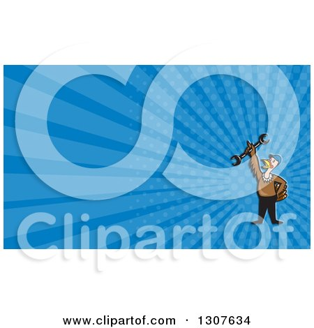 Clipart of a Cartoon Turkey Bird Worker Mechanic Man Holding up a Wrench and Blue Rays Background or Business Card Design - Royalty Free Illustration by patrimonio