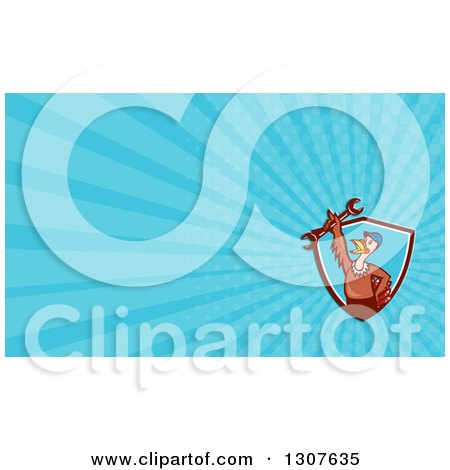 Clipart of a Cartoon Turkey Bird Worker Mechanic Man in a Shield, Holding up a Wrench and Blue Rays Background or Business Card Design - Royalty Free Illustration by patrimonio