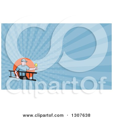 Clipart of a Cartoon White Male Electrician Carrying a Ladder and Holding a Light Bulb and Blue Rays Background or Business Card Design - Royalty Free Illustration by patrimonio