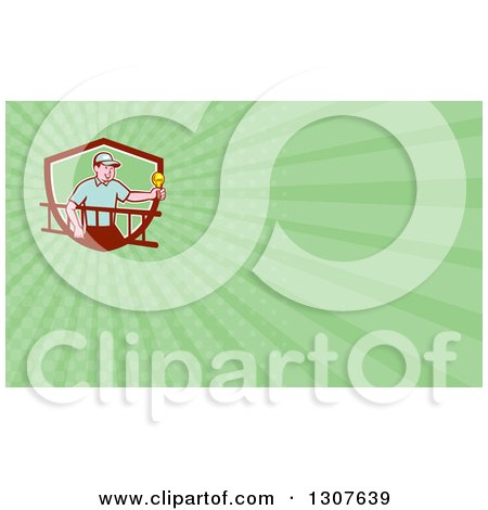 Clipart of a Cartoon White Male Electrician Carrying a Ladder and Holding a Light Bulb and Green Rays Background or Business Card Design - Royalty Free Illustration by patrimonio