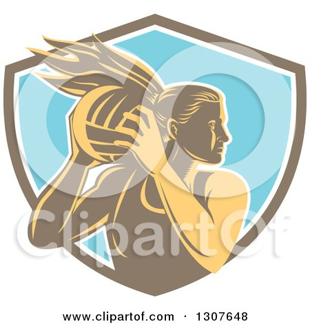 Clipart of a Retro Woodcut Female Volleyball Player Rebounding in a Brown White and Blue Shield - Royalty Free Vector Illustration by patrimonio