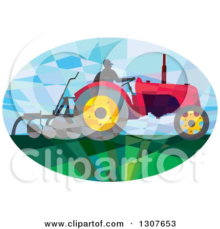 Retro Low Poly Geometric Farmer Operating a Plow Tractor in an Oval Posters, Art Prints