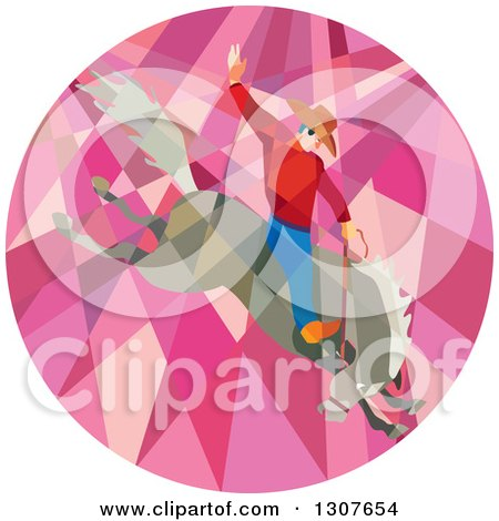 Clipart of a Retro Low Poly Geometric Male Rodeo Cowboy on a Bucking Horse in a Pink Circle - Royalty Free Vector Illustration by patrimonio