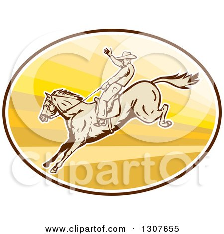 Clipart Of A Retro Male Rodeo Cowboy On A Bucking Horse In An Oval Royalty Free Vector Illustration