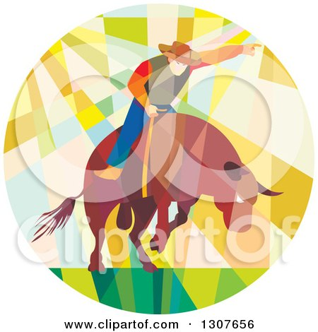 Clipart of a Retro Low Poly Geometric Rodeo Cowboy Riding a Bull in a Circle - Royalty Free Vector Illustration by patrimonio
