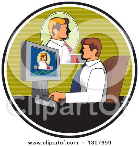 Clipart of a Retro White Businessman Having a Video Conference at Work, Inside a Circle - Royalty Free Vector Illustration by patrimonio