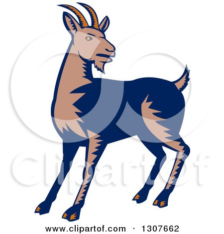 Clipart of a Retro Woodcut Mountain Goat - Royalty Free Vector Illustration by patrimonio