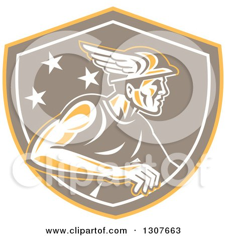 Clipart of a Retro Mercury with Stars, Wearing a Winged Hat in a Yellow Brown and White Shield - Royalty Free Vector Illustration by patrimonio