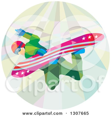 Clipart of a Retro Low Poly Caucasian Man Snowboarding in a Circle - Royalty Free Vector Illustration by patrimonio